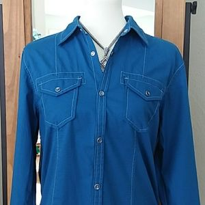 Royal Blue Western Style Button Up Shirt